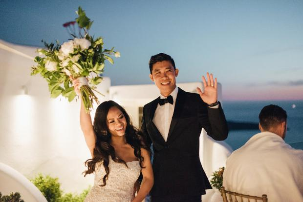 Couple's entrance- Santorini wedding