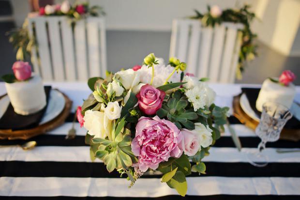 Peonies & Succulent centerpiece