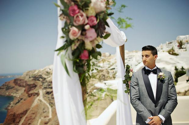 Groom waiting at the altar, Santorini