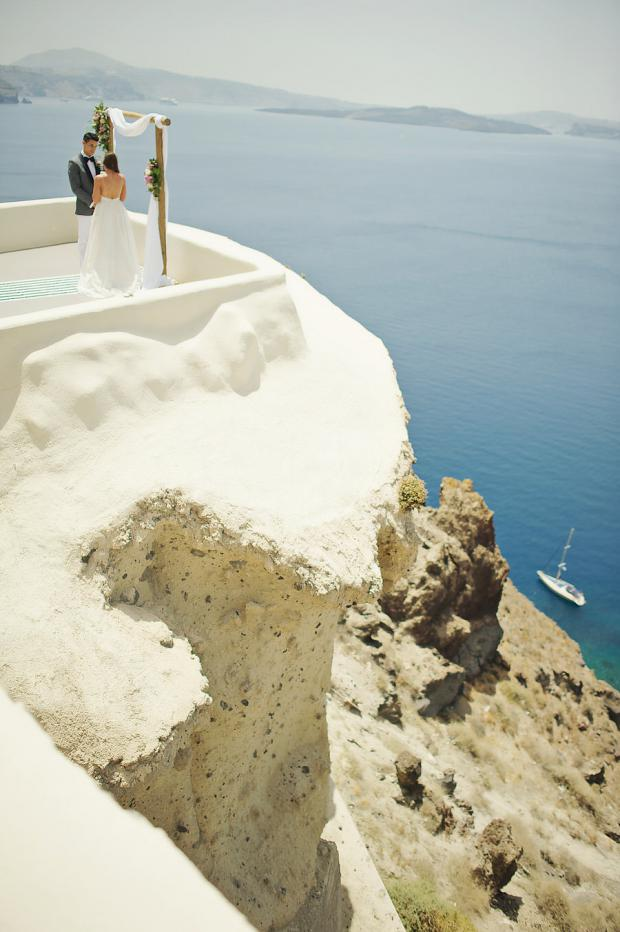 Elopement on the hills of Santorini