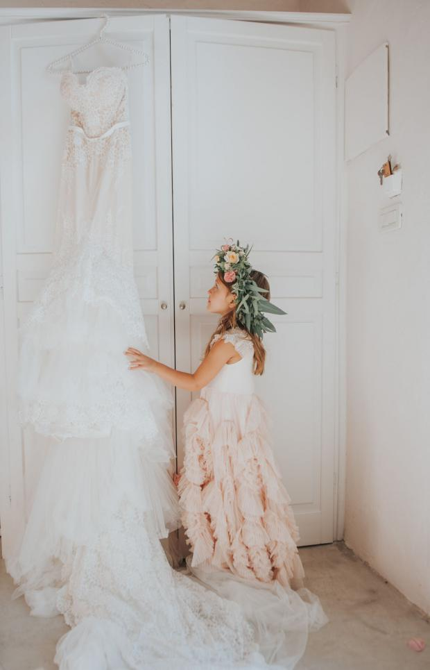Flower girl crown and wedding dress