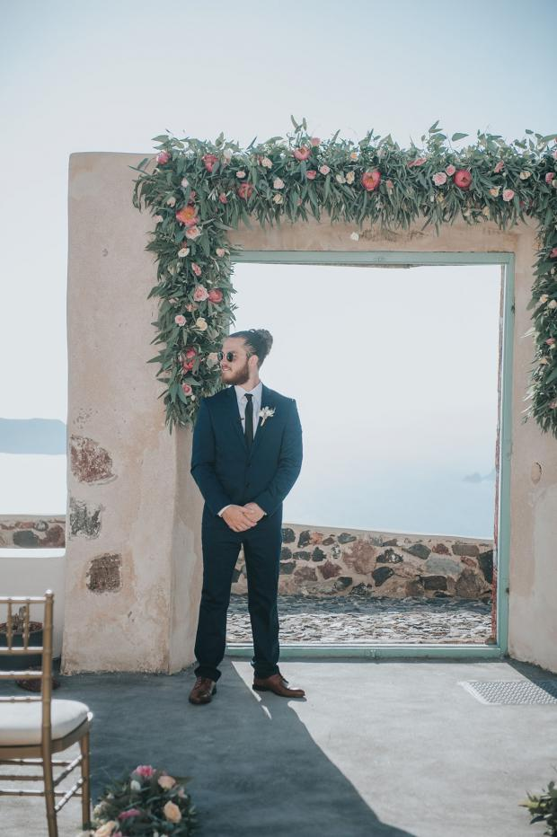 Groom waiting for the bride- Santorini wedding