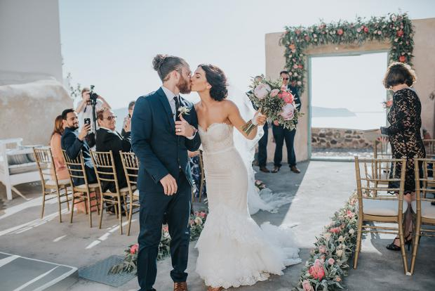 Wedding ceremony in Greece-bride and groom