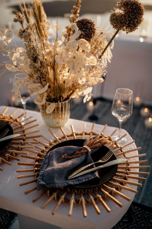 Boho romantic dinner set up