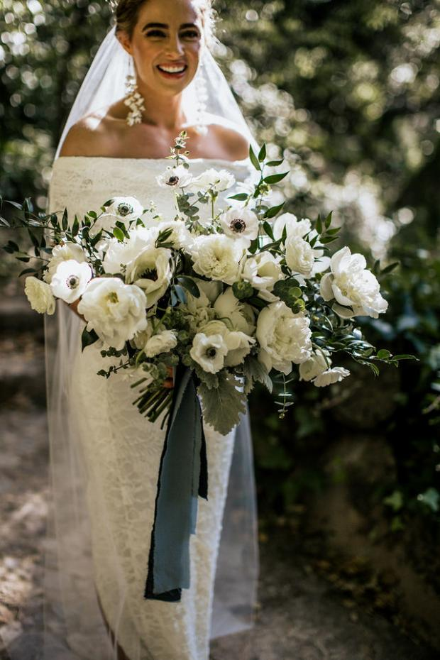White bouquet with anemones