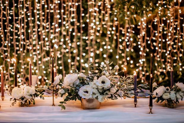 Fairylights  wedding dinner in the woods , Portugal l