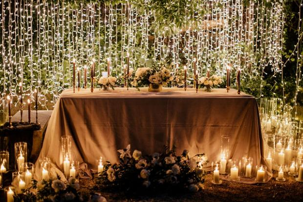 Fairylights  wedding dinner in the woods , Portugal