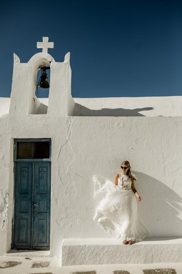 Bohemian wedding gown - Santorini
