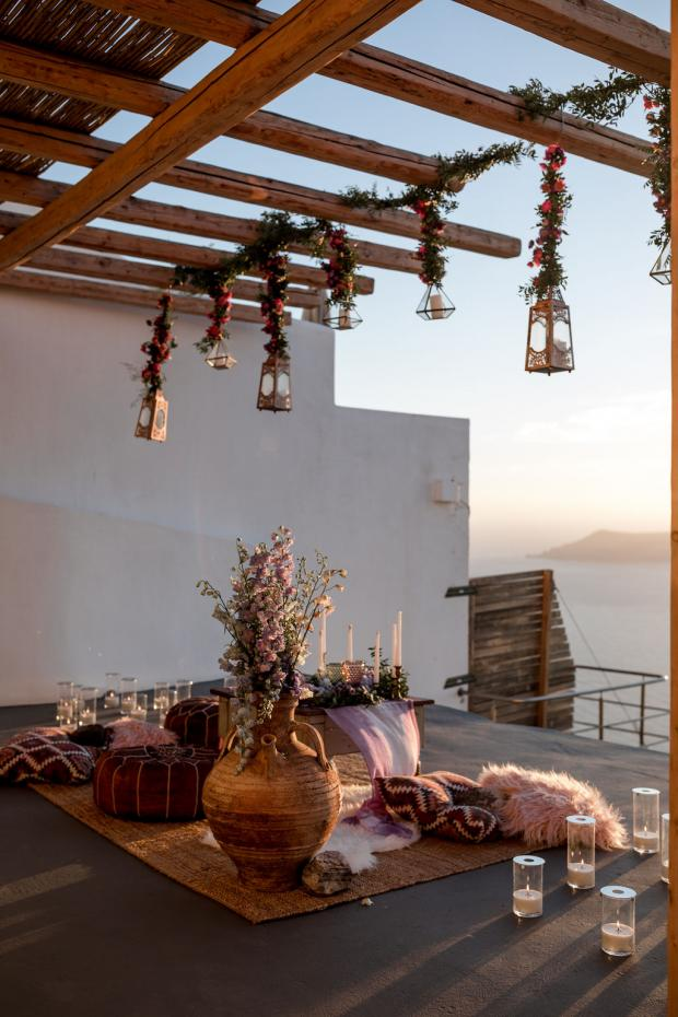 Boho wedding styled by Tie the knot Santorini