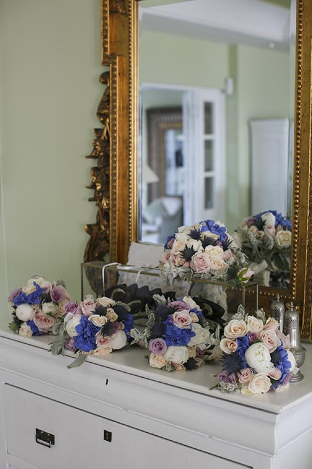 Pink and blue wedding bouquets