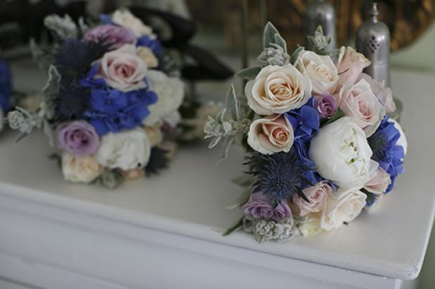 Pink and dusty blue wedding bouquet