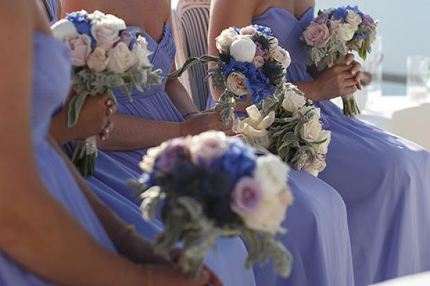 Blue and pink pastel bouquets