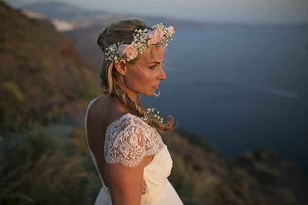 Santorini wedding- Bohemian bride