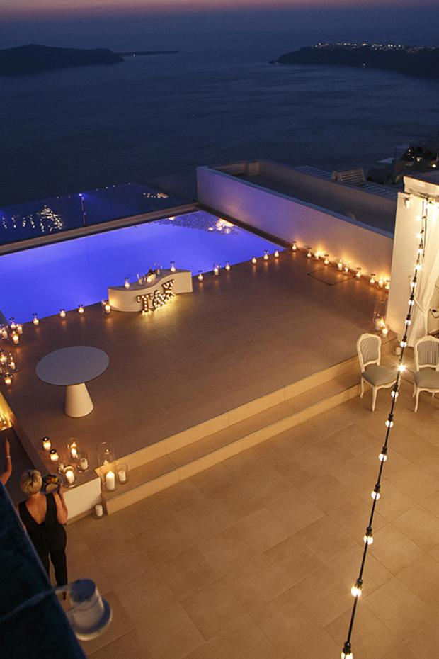 Santorini wedding reception- bistro lights