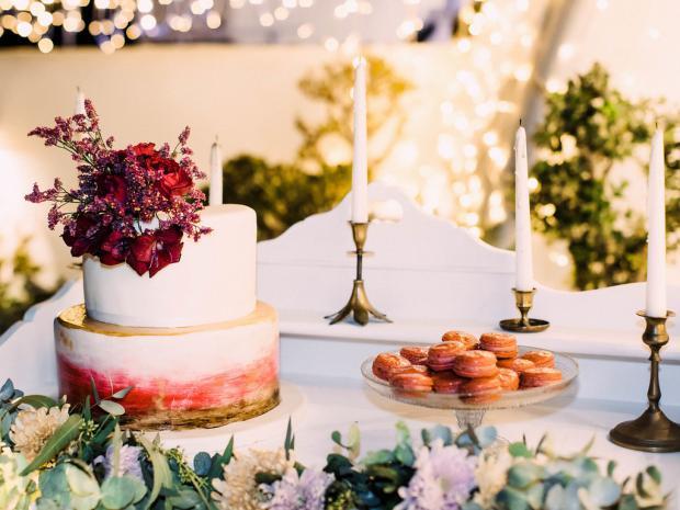 burgundy dessert table