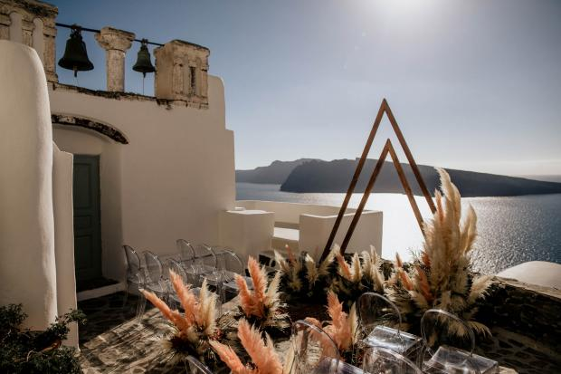 Modern pampas grass wedding in Greece