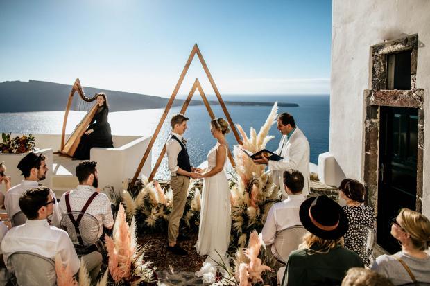 Bohemian & moody destination wedding in Greece