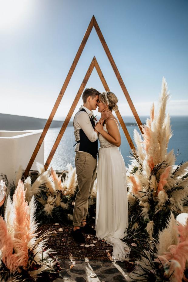 Triangle arch- pampas grass wedding