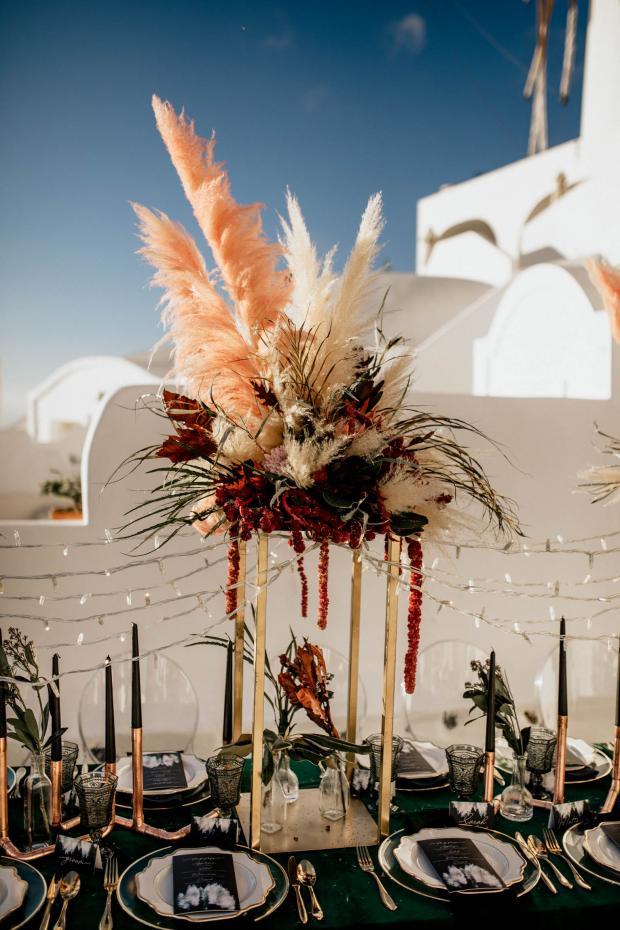 Pink pampas centrepiece-modern wedding