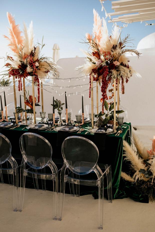 modern wedding dinner- velvet tablecloth