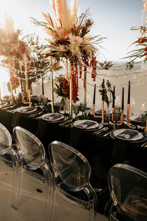 moody wedding- modern velvet tablescape