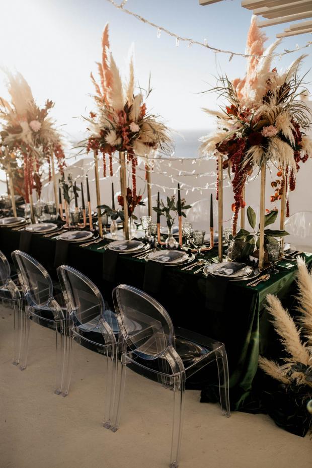 Modern pampas grass wedding - green velvet tablecloth