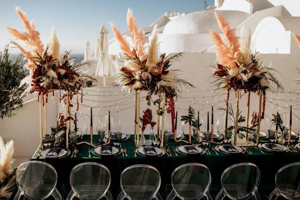 Modern and moody bohemian wedding - wedding table