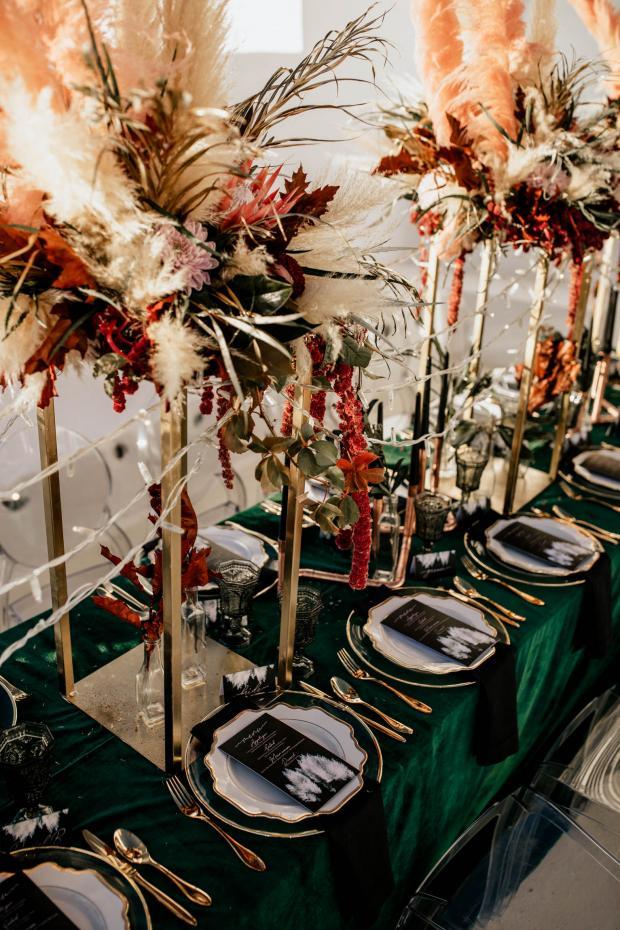 Green velvet wedding tablescape