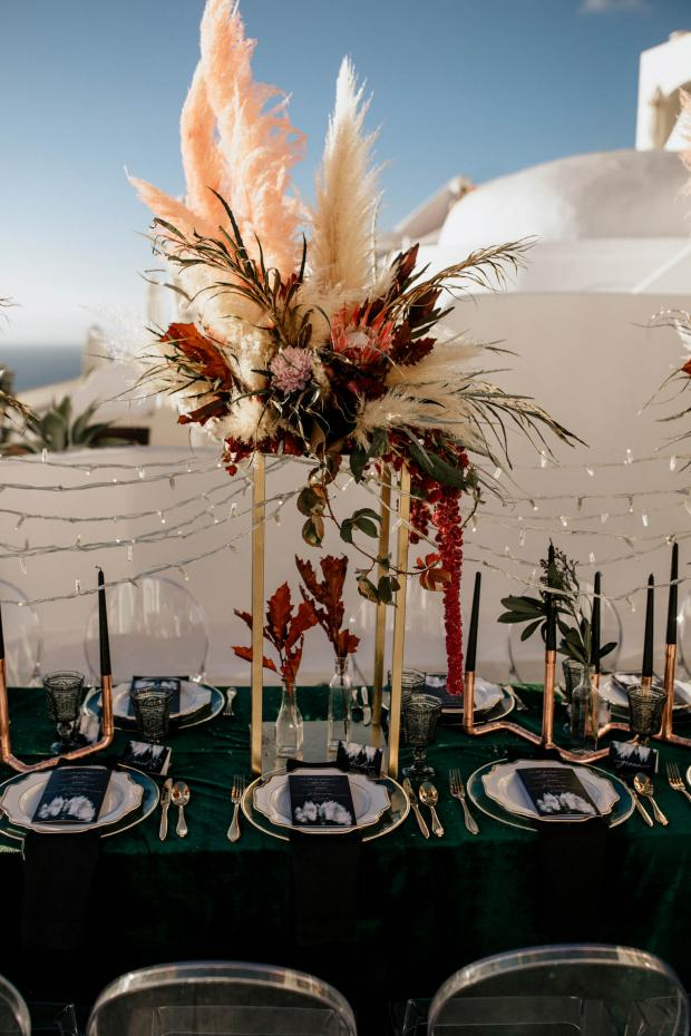 Long dinner centrepiece- pink pampas