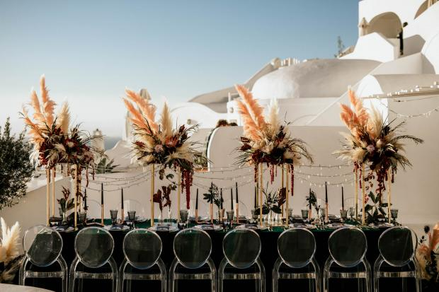 Modern and moody wedding in Greece- wedding dinner