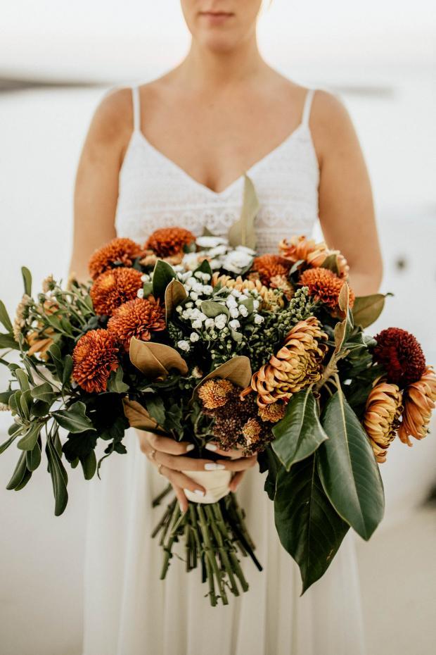 Chrysanthemum wedding bouquet - moody wedding