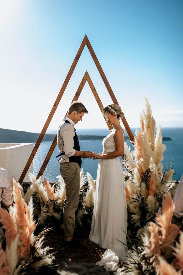 Modern  pampas grass destination wedding in Greece