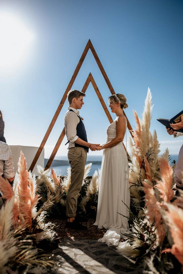 pink pampas grass ceremony