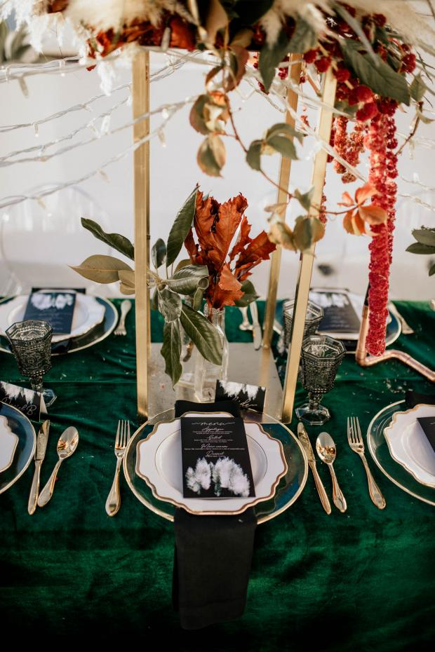 Wedding tablescape- pampas grass menu