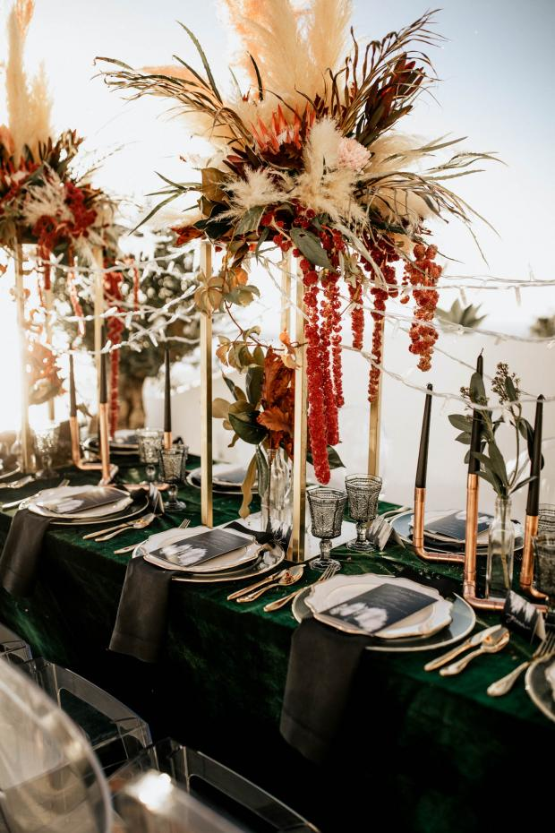 modern velvet tablescape - Wedding dinner