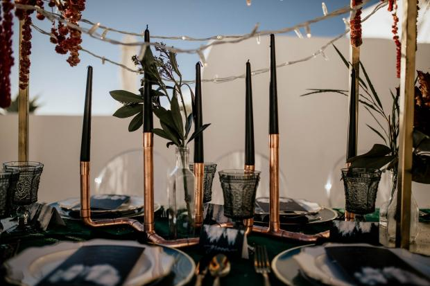 wedding tablescape-black candles