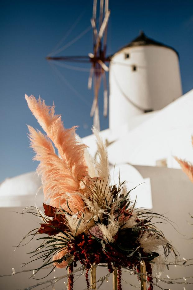 pink pampas grass centerpiece