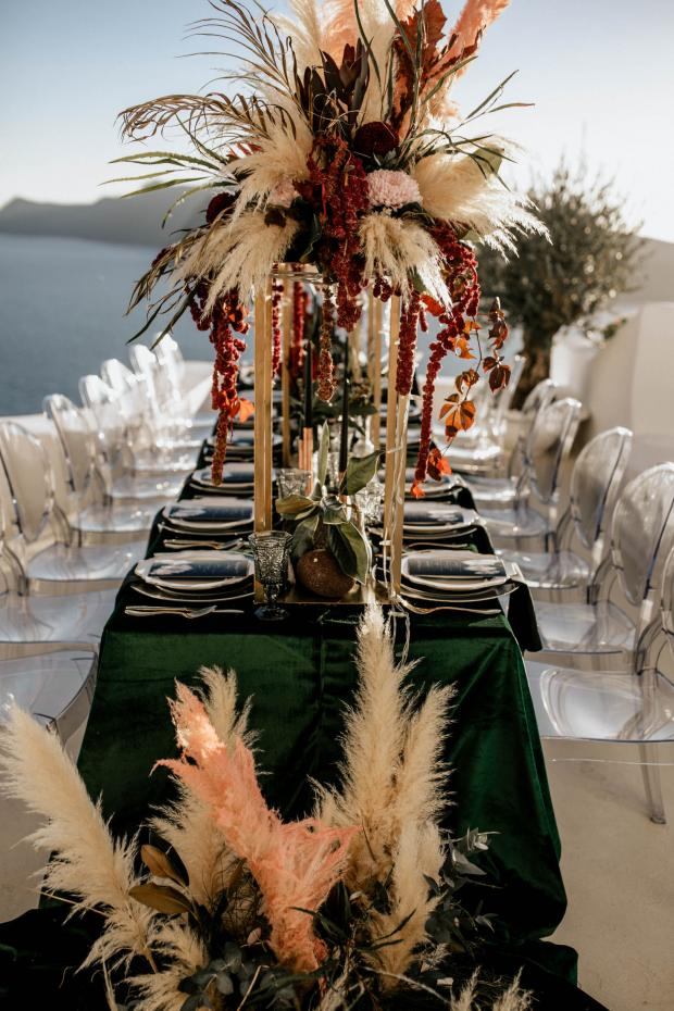 pink pampas grass & green velvet wedding