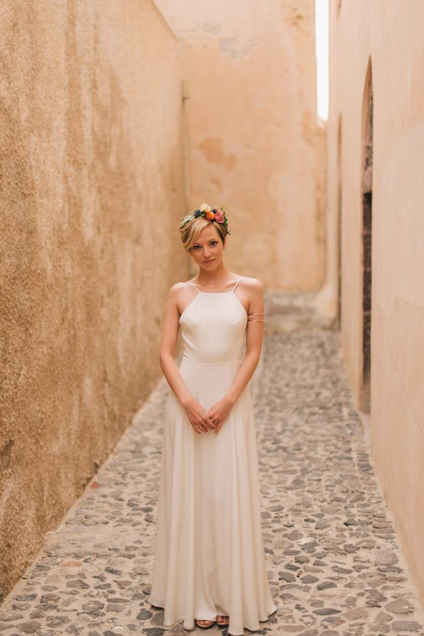 Bohemian bride- Santorini