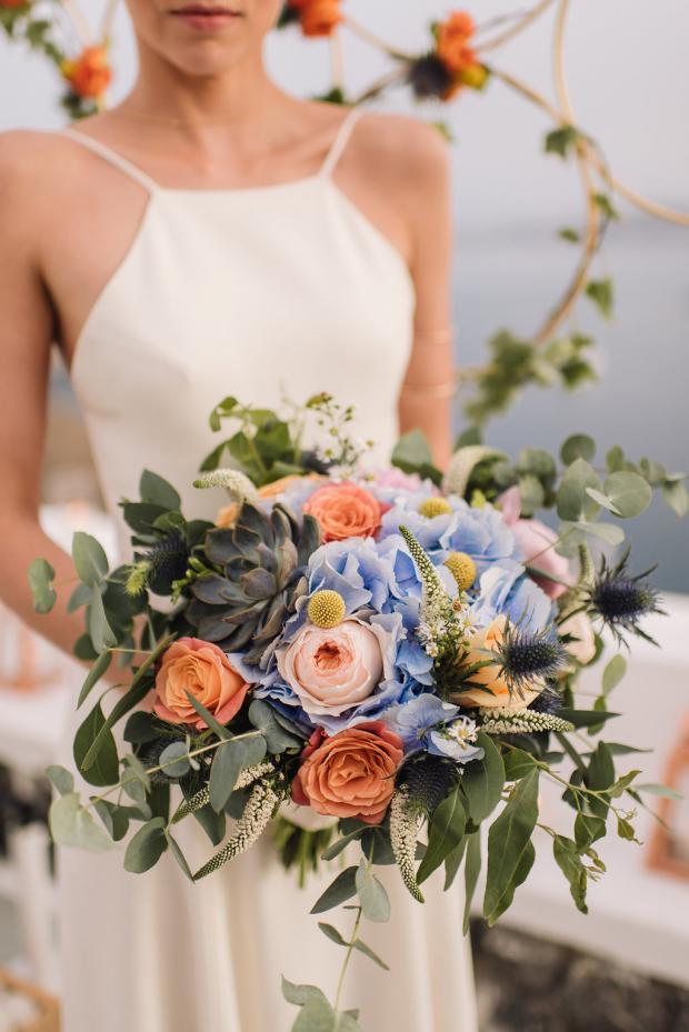 Peach and blue wedding bouquet