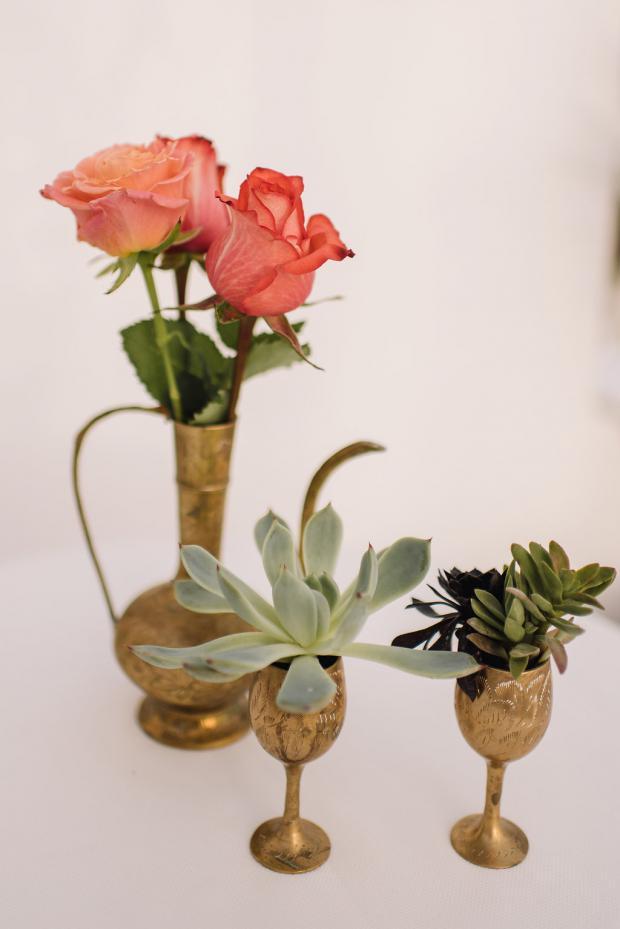 Bohemian wedding details- succulents