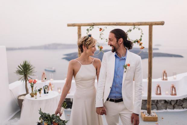 Santorini wedding happiness