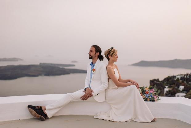 Bohemian and modern wedding  ceremony in Santorini