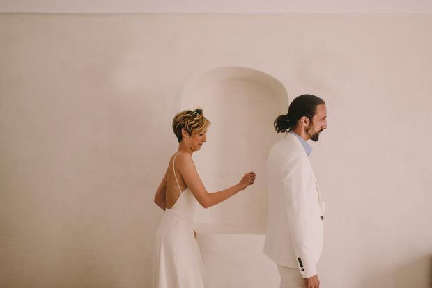 Santorini wedding- First look