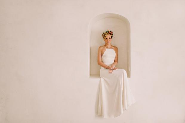 Bohemian Santorini wedding -bride