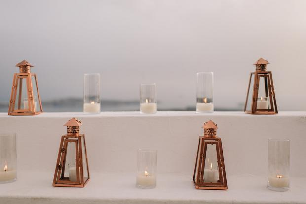 Copper lanterns and candles