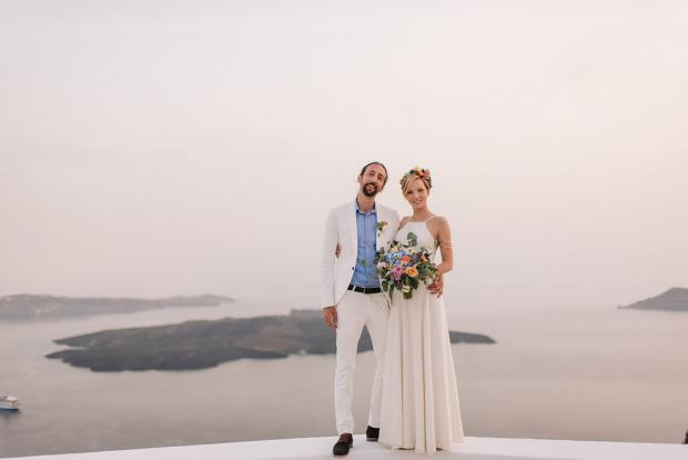 Bohemian and modern wedding  ceremony in Santorini