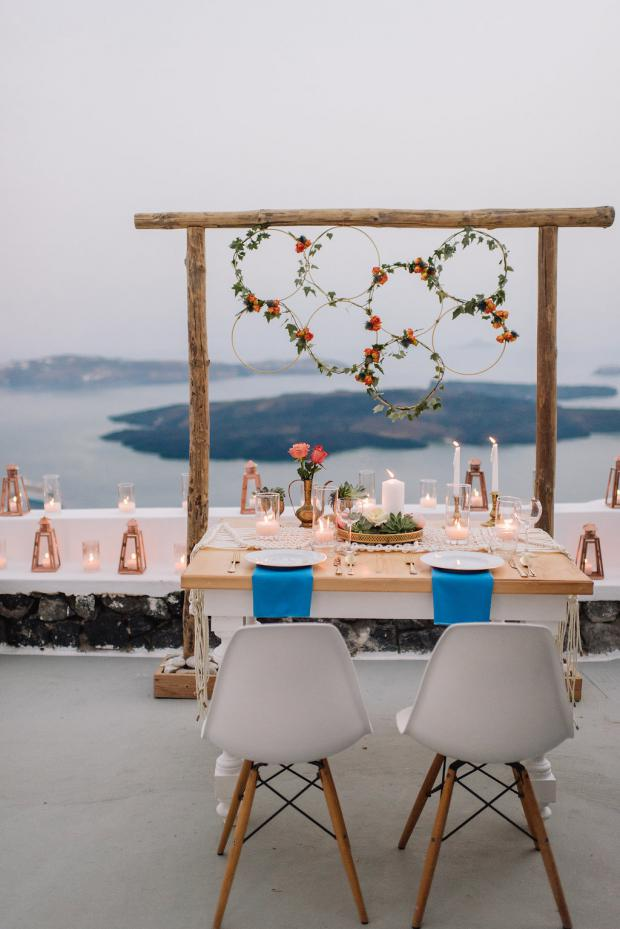 Elopement in Santorini-Sweetheart table