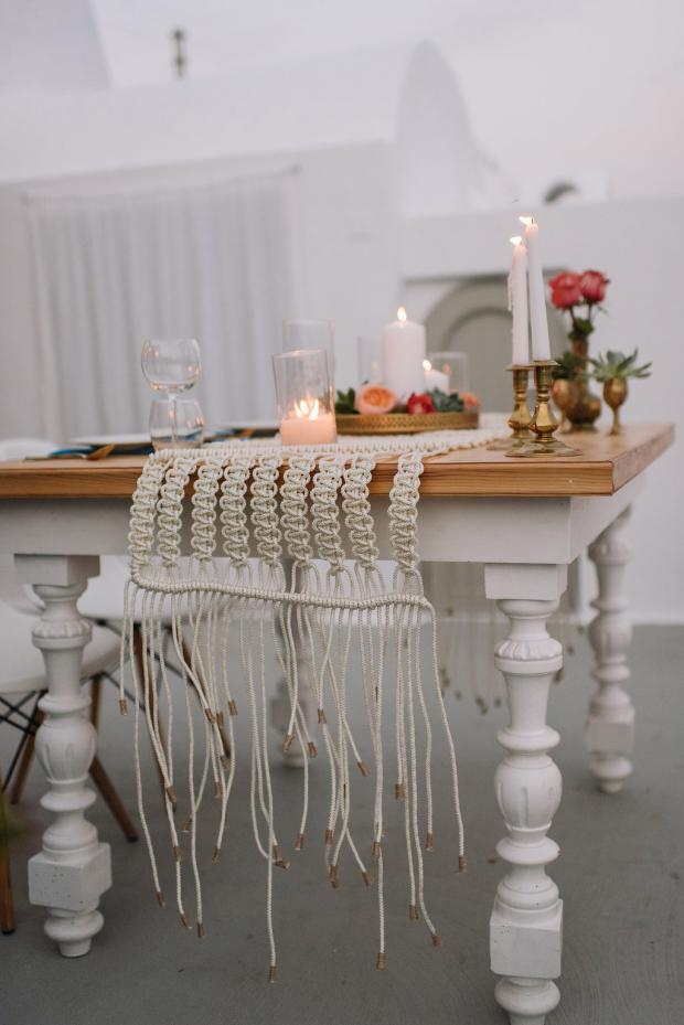 Macrame runner-tablescape