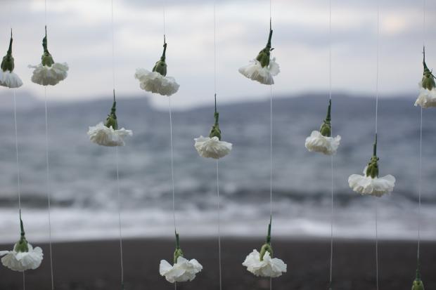 Santorini bohemian beach wedding